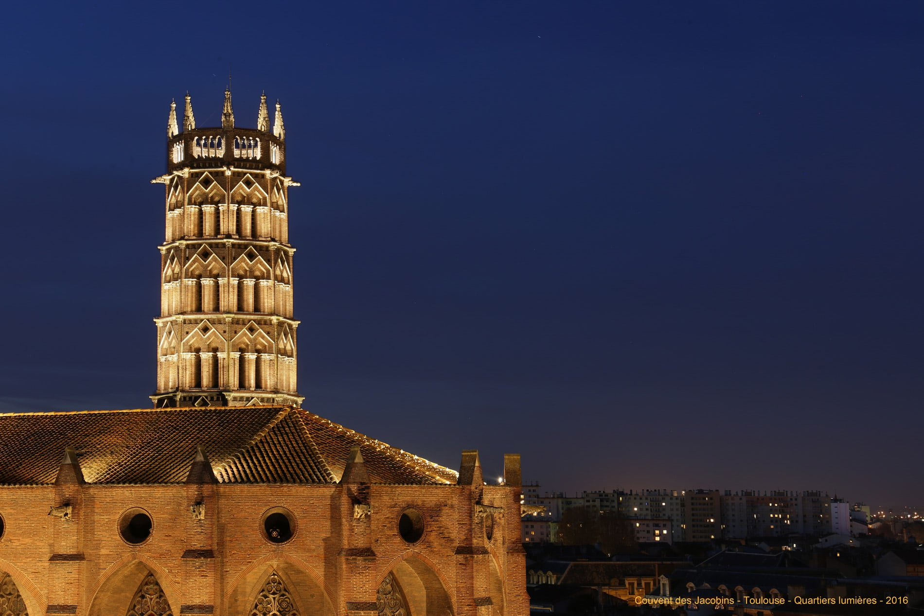 conception lumière du couvent des Jacobins à Toulouse par Quartiers Lumières