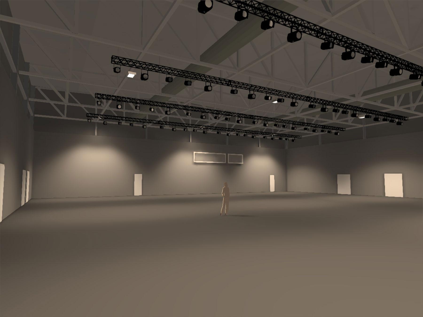 rail d'éclairage dans une salle de spectacle