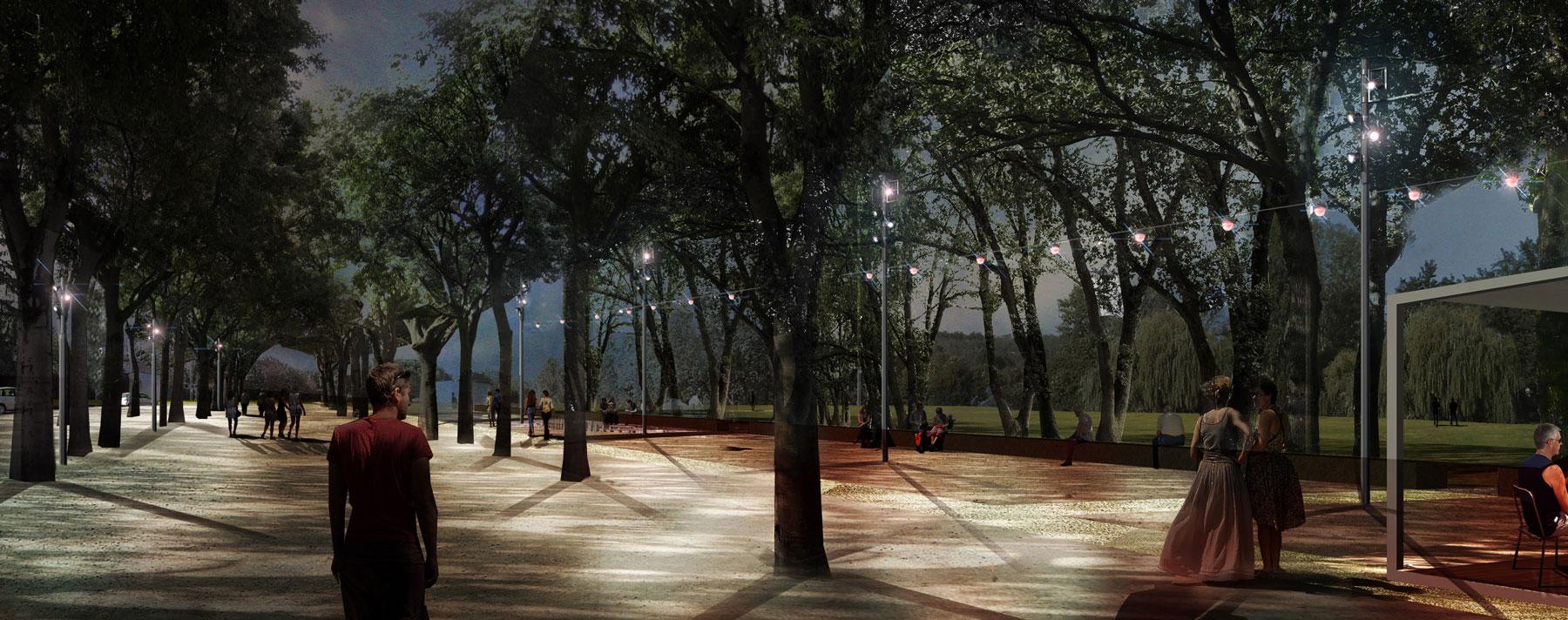 infographie de nuit avec des luminaires sur caténaires de type lampion