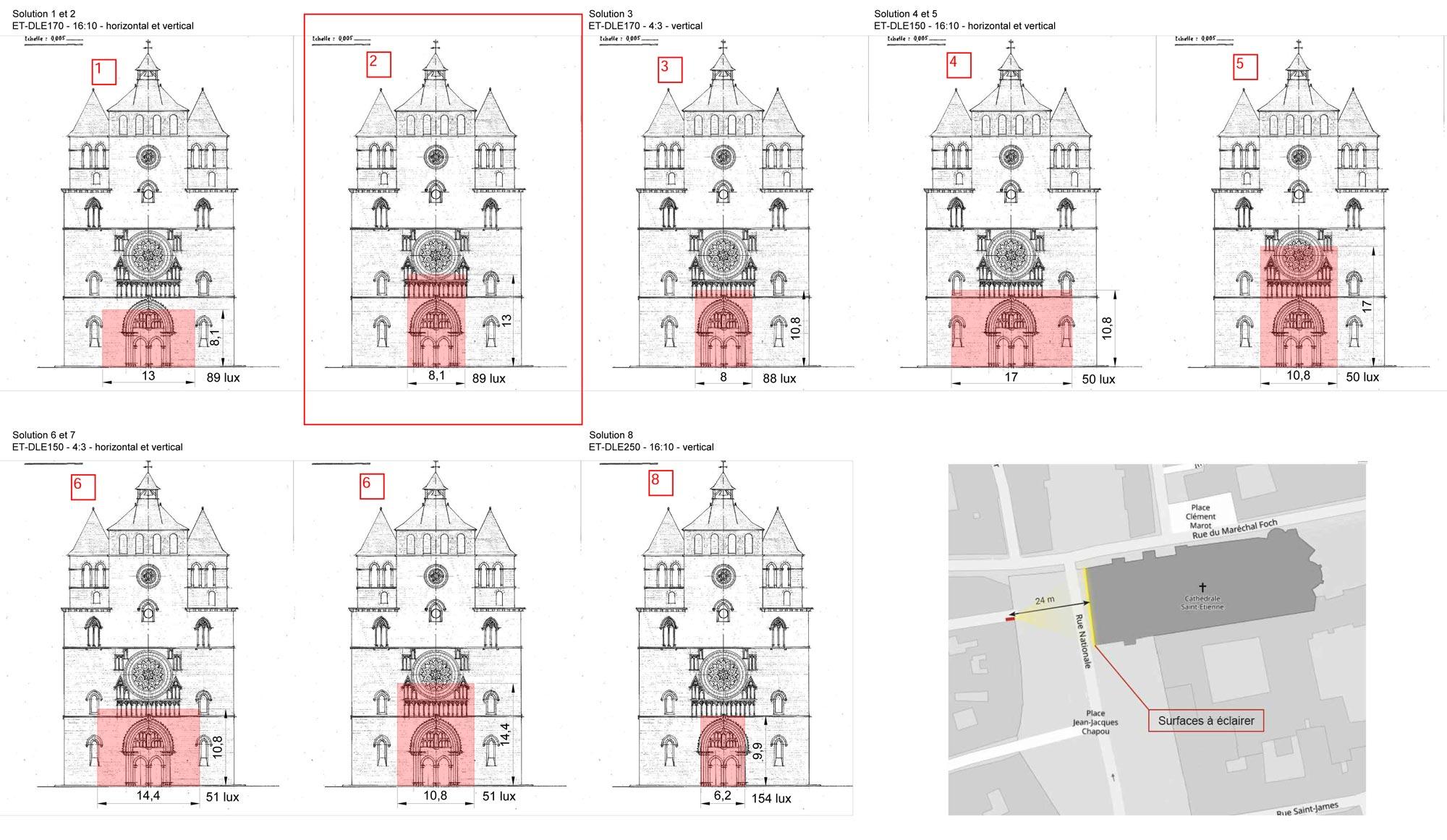 projet de conception lumière pour un mapping sur la cathédrale de Cahors