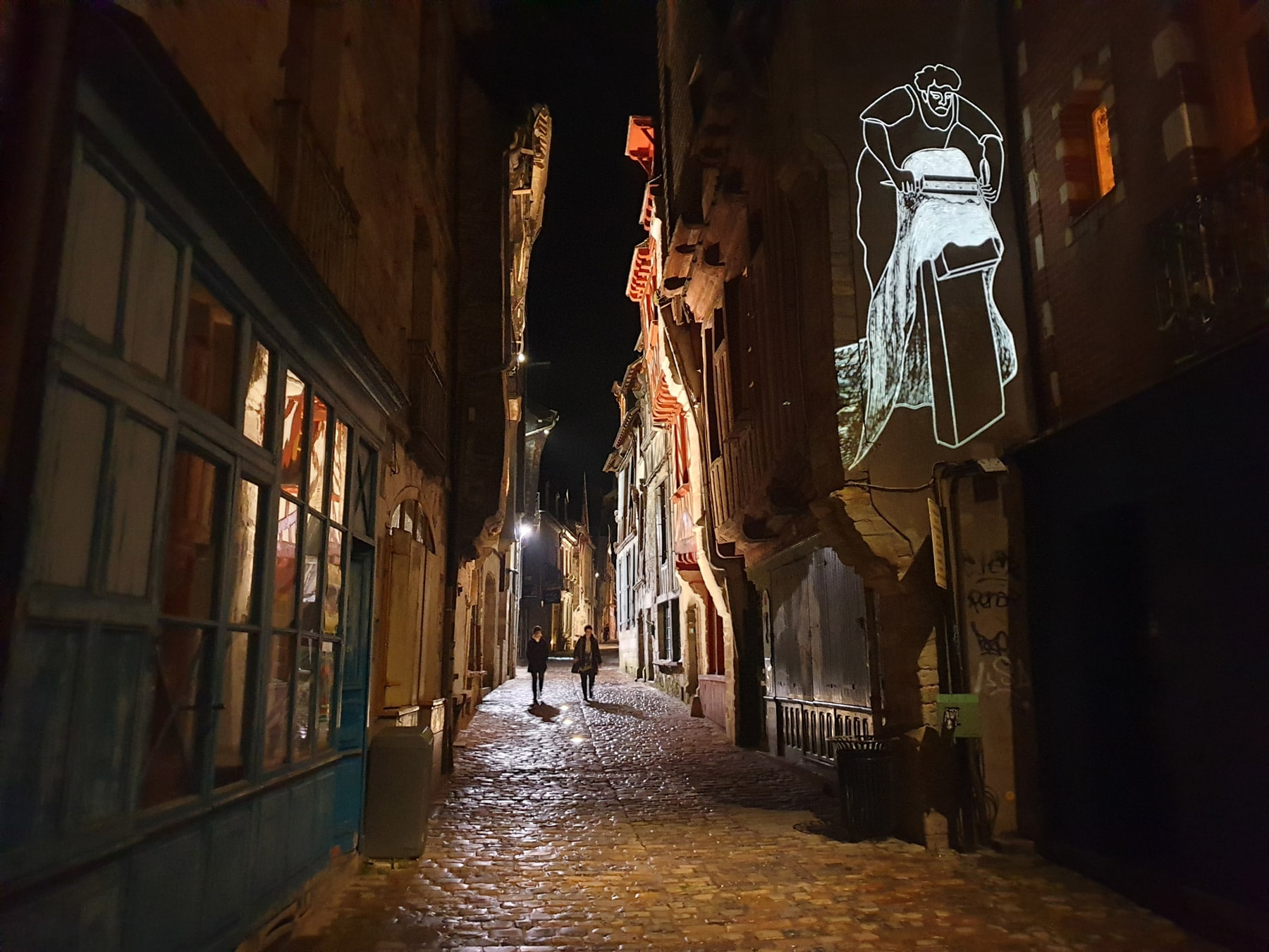 projection d'images gobo rue de vitré en bretagne