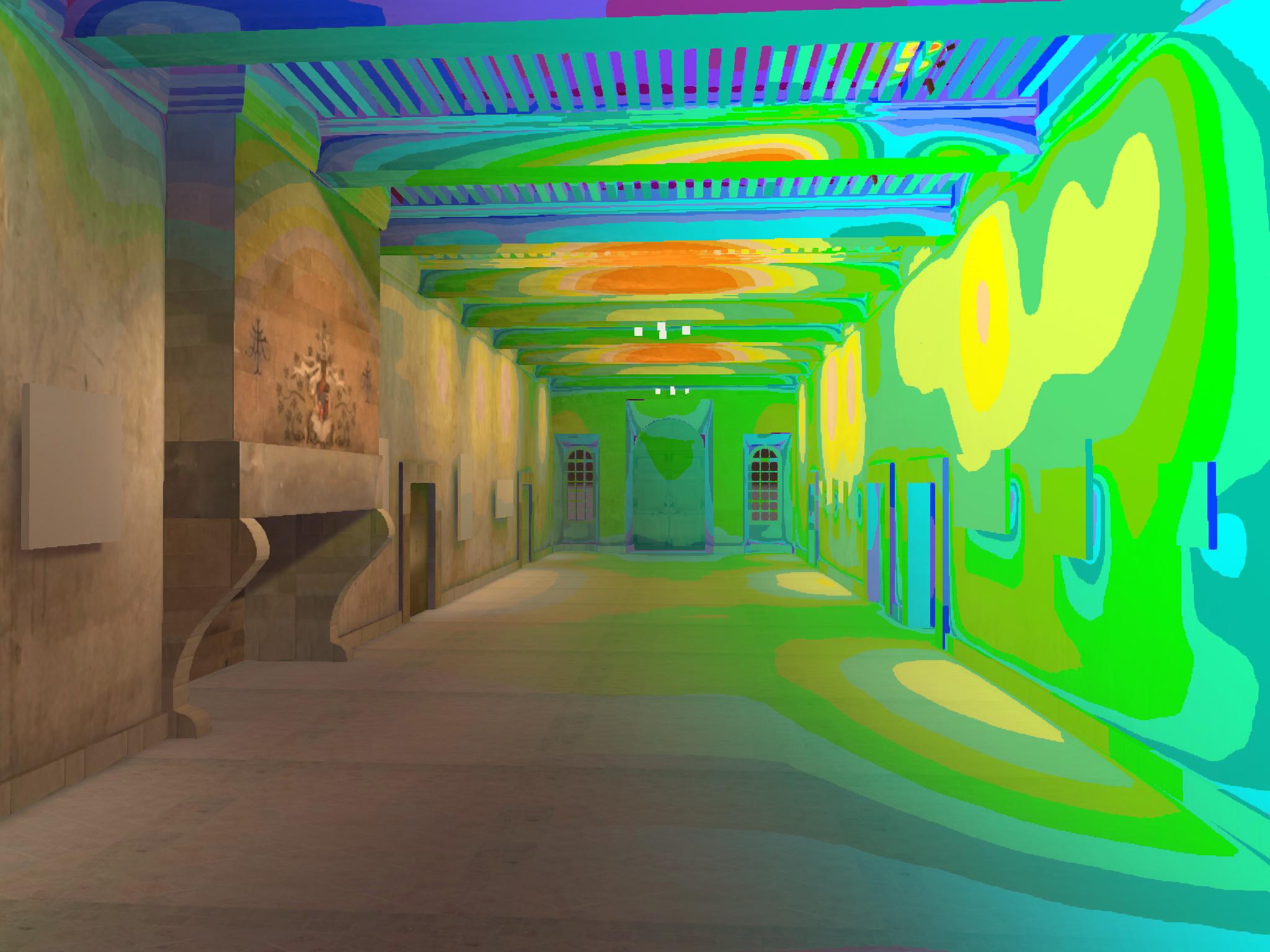 simulation dialux fausses couleurs dans un chateau