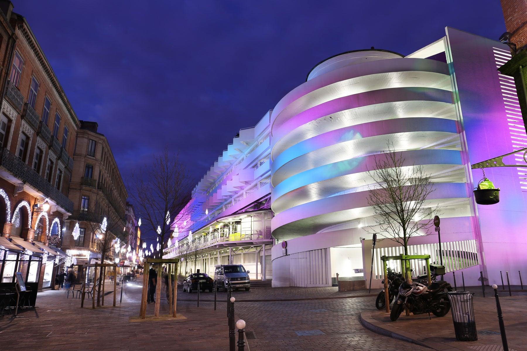 Mise en lumière du parking Victor Hugo pour Noel