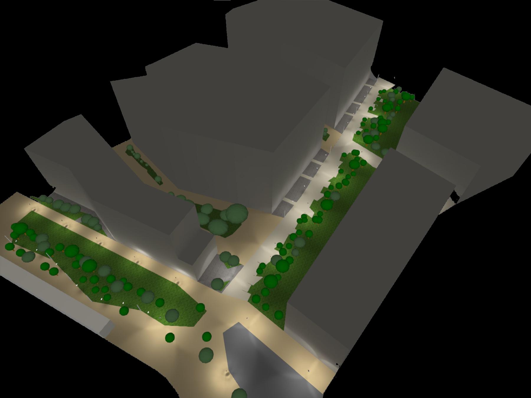 simulation lumière sur la promenade des forges à bordeaux