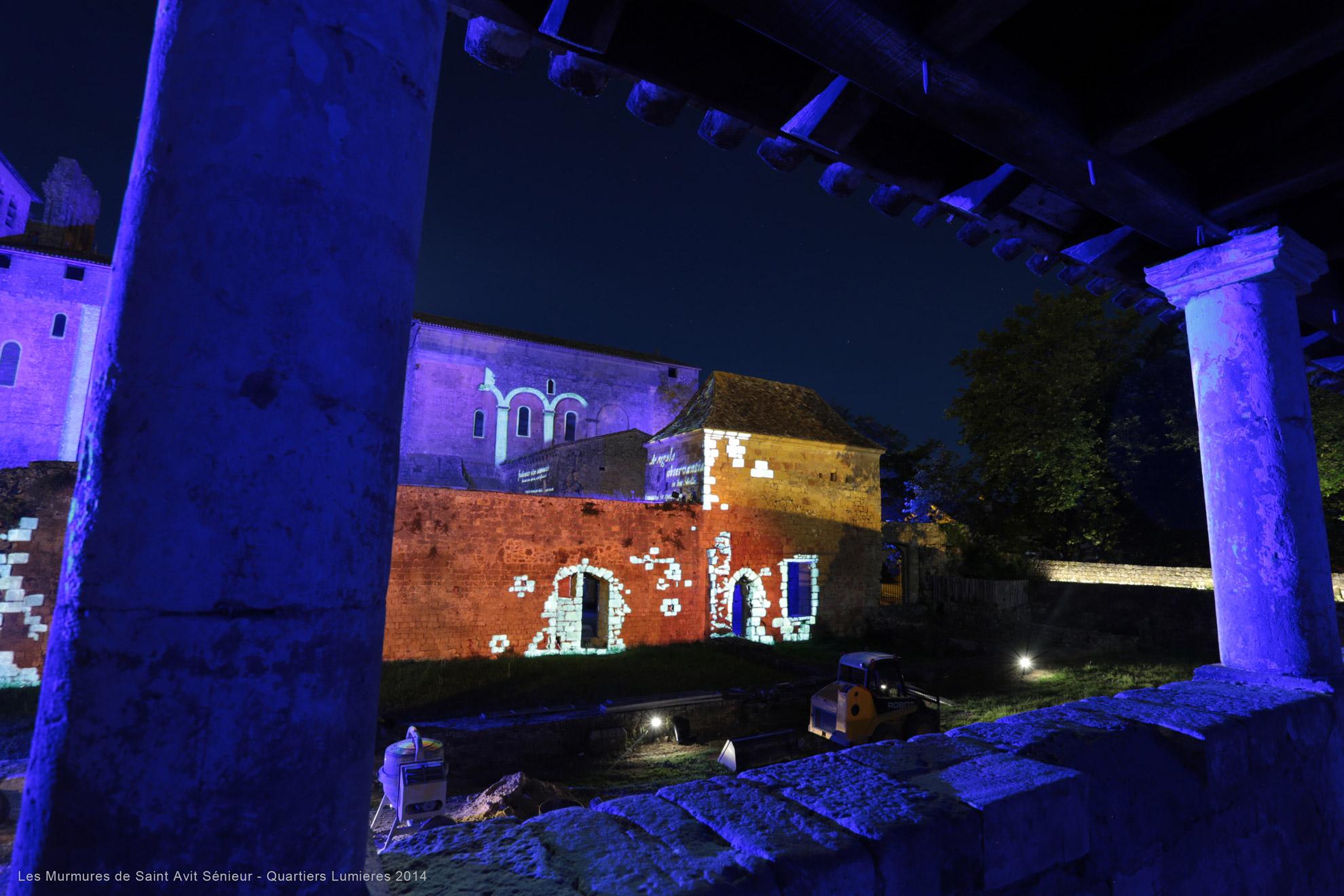 projection d'images gobo sur une abbaye en dordogne