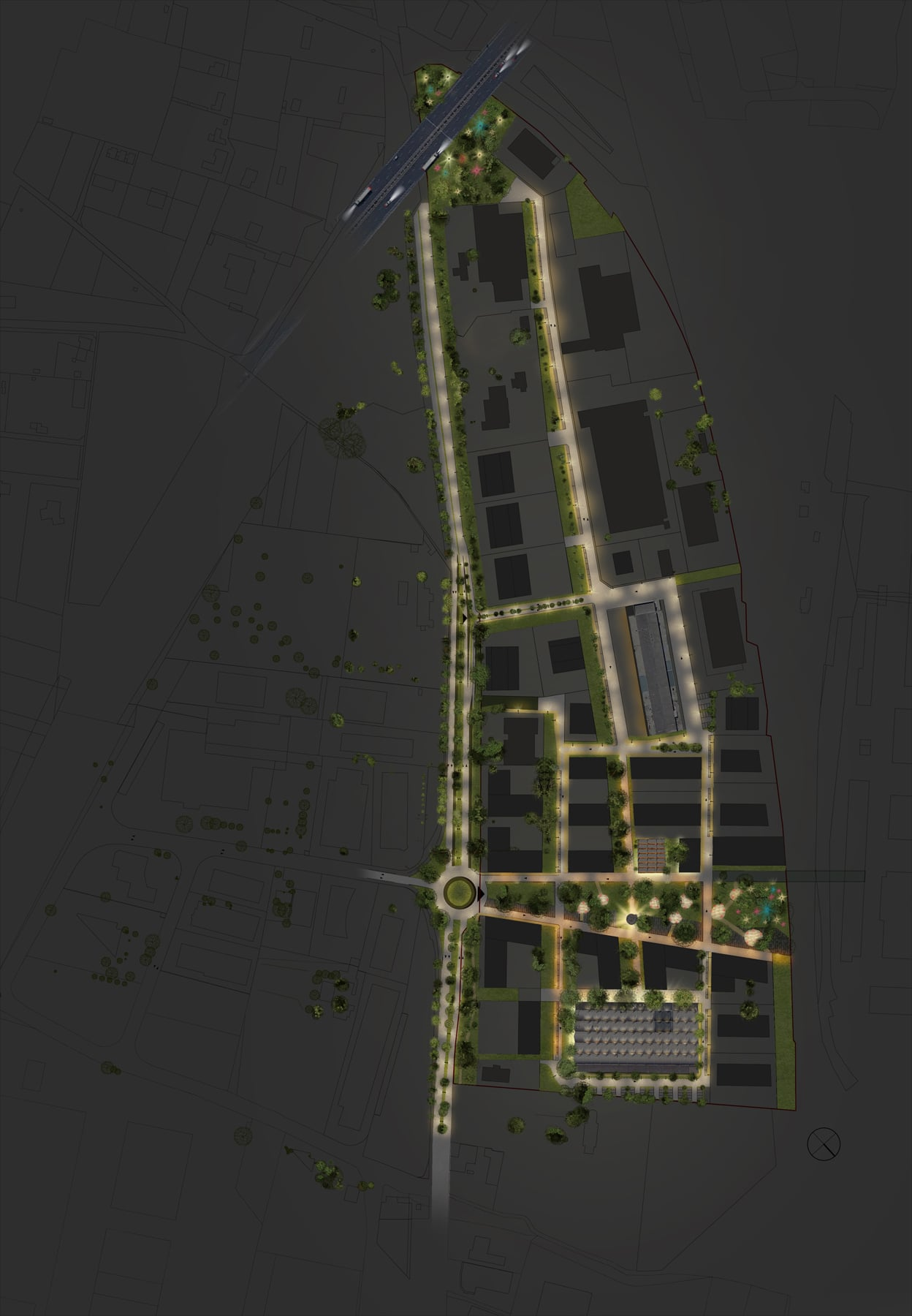 plan masse nuit projet urbain